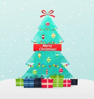 雪の背景の年賀状にギフトとクリスマスツリー