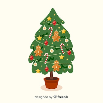 Christmas tree with gingerbread man background