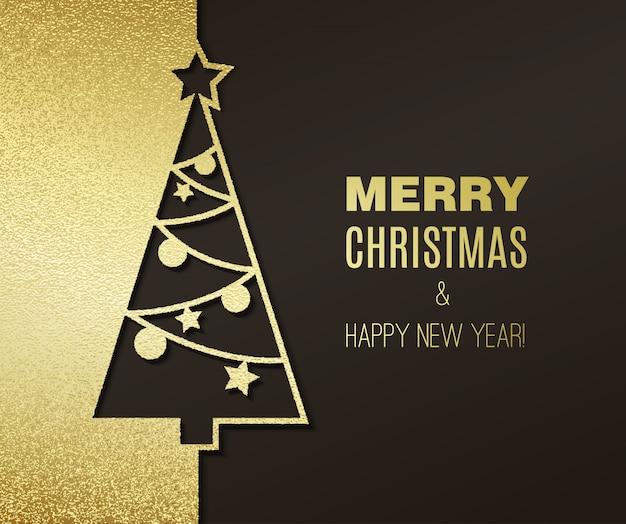 キラキラ効果グリーティングカードとクリスマスツリー