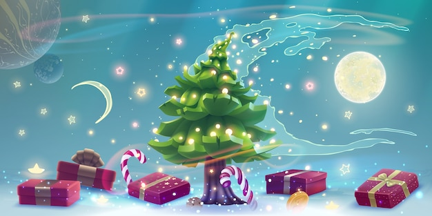Christmas tree with glowing lights, presents and candies
