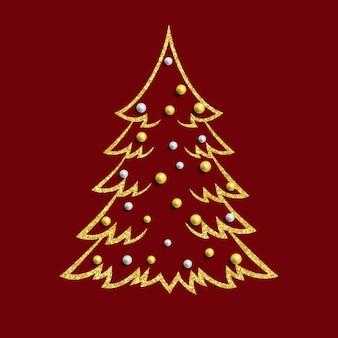 Рождественская елка с золотыми и серебряными бусами.