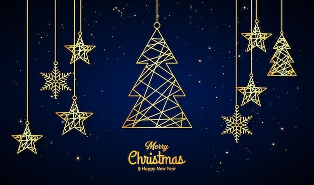 황금과 은색 라인 크리스마스 트리