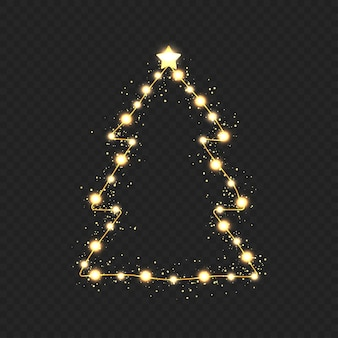 透明な背景に金色のライトとクリスマスツリー。ベクター