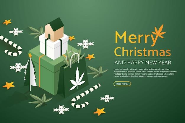 大きなセットギフトボックスと紙袋マリファナに家とクリスマスツリー