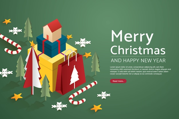 大きなセットギフトボックスと紙袋に家とクリスマスツリー