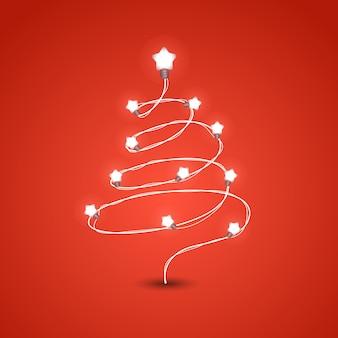 照明花輪ベクトルイラストとクリスマスツリー。クリスマスカラーの花輪。クリスマスグリーティングカードベクトルテンプレート。