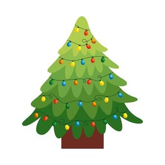 Рождественская елка с огнями изолированы. векторная иллюстрация