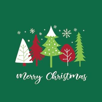 녹색 배경에 메리 크리스마스 후자가 있는 크리스마스 트리