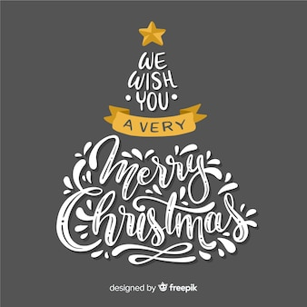 Christmas tree with merry christmas letterting