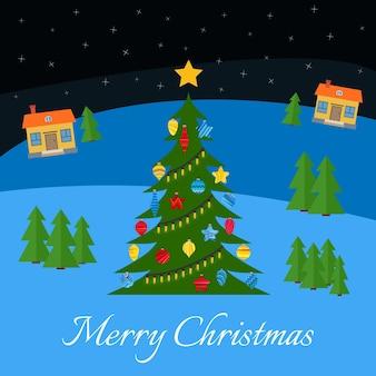 다양한 색상의 장난감과 화환이 있는 크리스마스 트리. 밤에 마을에서 크리스마스 트리입니다. 겨울에 마을의 별이 빛나는 밤하늘.