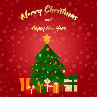 新年の装飾が施されたクリスマスツリー。