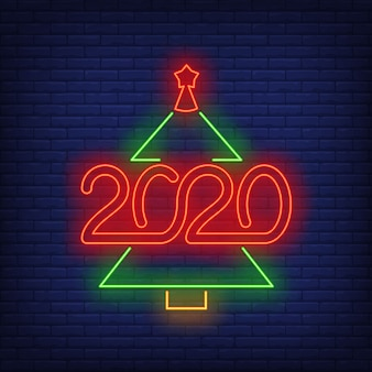 Christmas tree with numbers neon sign