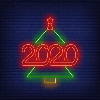 数字のネオンサインとクリスマスツリー