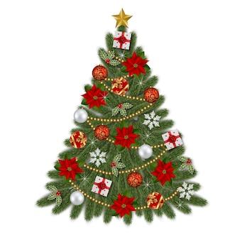 Новогодняя елка с цветами пуансеттии, елочными шарами, подарочными коробками, снежинками и украшениями