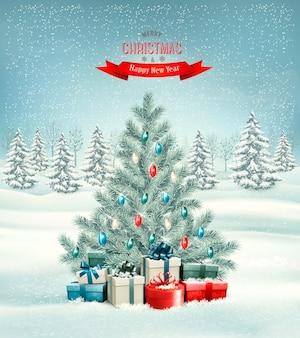 Рождественская елка с фоном подарков