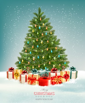 Christmas tree with presents background