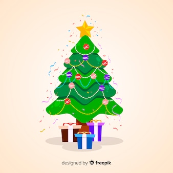 Christmas tree with presents illustration