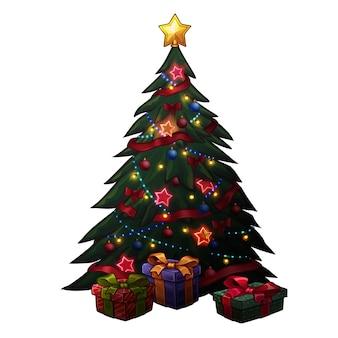 Рождественская елка с подарками. изолированные на белом
