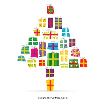 Рождественская елка с подарками вектора