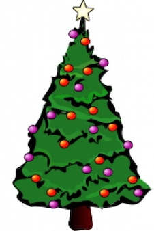 Christmas tree with purple and red balls