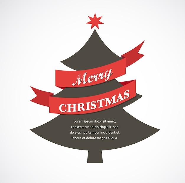 リボンとテキストのクリスマスツリー