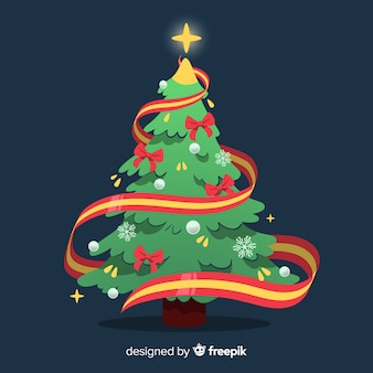 Christmas tree with ribbon illustration