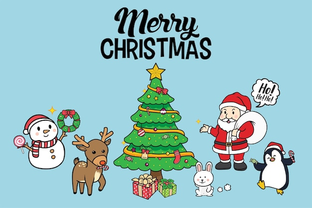 Christmas tree with santa claus and friend