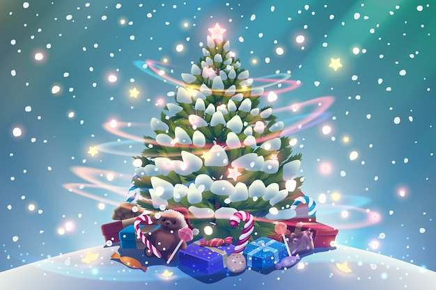 Christmas tree with shining garland, glowing lights, presents and candies