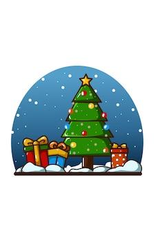 Рождественская елка с подарком в канун рождества на фоне неба ночью