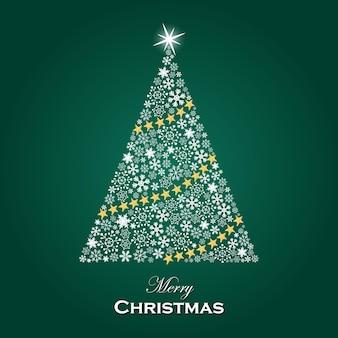 きらめく雪模様のクリスマスツリー