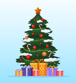 特別なギフトのイラストとクリスマスツリー