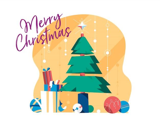 星、デコレーションボール、ギフトボックスとクリスマスツリー。グリーティングカードのメリークリスマスデザイン