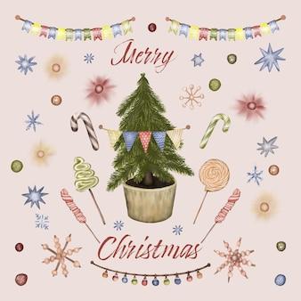 お菓子、キャンディー、ガーランドのクリスマスツリー