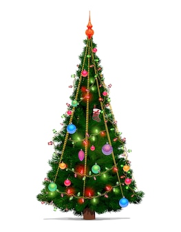 Christmas tree with xmas gift and ball decorations, merry christmas and new year cartoon design. winter holiday green fir or pine with glowing lights and ornaments, stocking and serpentine