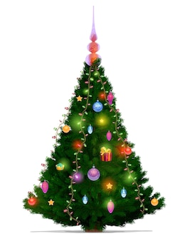 Christmas tree with xmas and new year lights. cartoon green fir or pine, decorated with gold stars, balls and present boxes, ribbon bows, glass baubles and topper, greeting card design