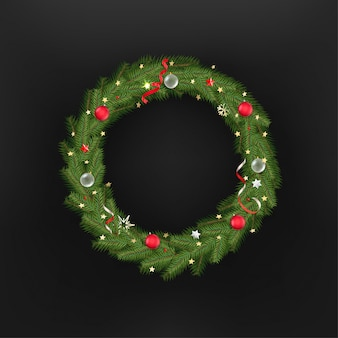 Christmas tree wreath. template for greeting card