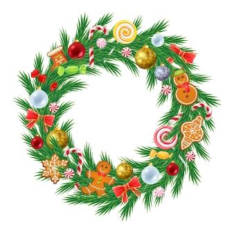 装飾が施されたクリスマスツリーの花輪