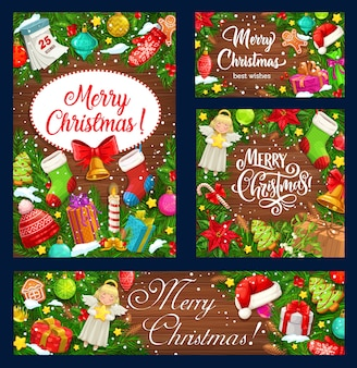 Christmas tree wreaths with xmas gifts on wooden background, winter holidays design. xmas bells, present boxes and snow, santa hat, stars and bells, holly tree branches, socks and calendar