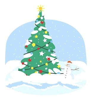 クリスマスツリー 。雪だるまとホリデーライトの装飾クリップアートとクリスマスのモミの木。新年の冬の屋外の装飾。クリスマスグリーティングカード要素