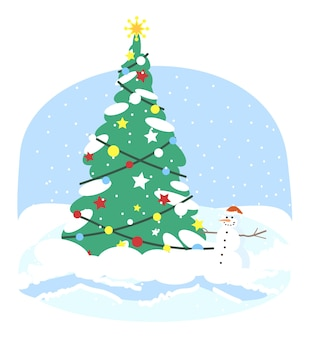 Christmas tree   . xmas fir tree with snowman and holiday lights decorations  clipart. new year winter outdoor decor. christmas greeting card  element
