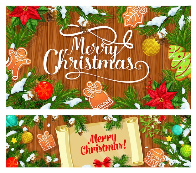Christmas tree and xmas gifts on wooden background with paper scroll in center banners. pine branches, snow and gingerbread, star, snowflakes and balls, mistletoe, red ribbon bow and poinsettia