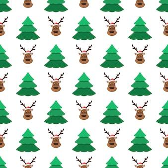 白い背景の上のサンタ帽子のクリスマスツリーと鹿クリスマスのシームレスなパターン壁紙パターンのトレンディなフラットスタイルの休日ベクトルイラストは、webページの背景を埋めます
