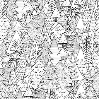 クリスマスツリーの黒と白のシームレスなパターン。冬のぬりえ。