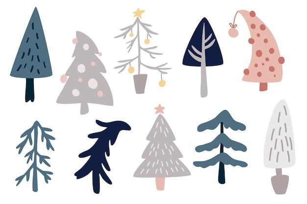 クリスマスツリーコレクション。花輪、電球、星と新年とクリスマスの伝統的なシンボルツリー。冬休み。スカンジナビアスタイルのベクトル漫画イラスト。