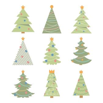 크리스마스 트리 컬렉션 흰색 배경에 벡터 크리스마스 트리 세트