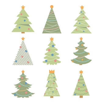 Christmas trees collection set of vector christmas trees on a white background