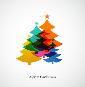 クリスマスツリー-カラフルでモダンなグリーティングカード