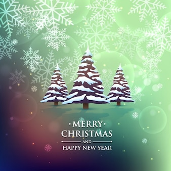 Christmas trees in colorful background