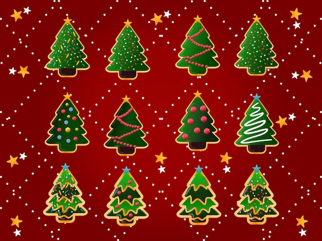 Christmas trees cookies collection