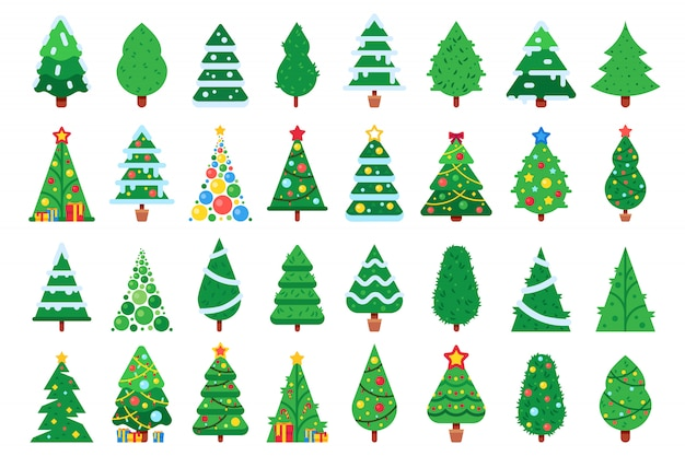 Christmas trees. decorated new year tree, green spruce and gift box under xmas tree   illustration set